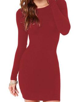 Long Sleeves Round Neckline Mini Dress