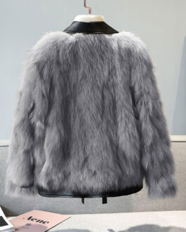 Long Sleeves Zipper Faux Leather Coat
