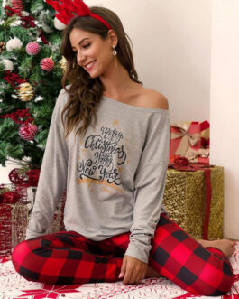 Loungewear 2-Piece Sets Long Sleeve Polyester Christmas Pattern Home Wear