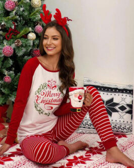 Loungewear Long Sleeve Polyester Christmas Pattern Home Wear 2-Piece Sets
