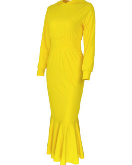 Maxi Dresses Long Sleeves Polyester Floor Length Hooded Dress
