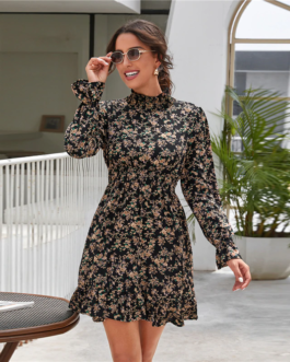Mock Neck Shirred Waist Ruffle Hem Floral Dress