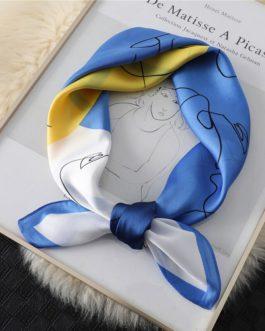 New  Design Print Lady Square Silk Scarf