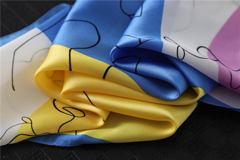 New Design Print Lady Square Silk Scarf3