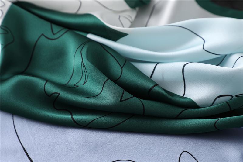 New Design Print Lady Square Silk Scarf6