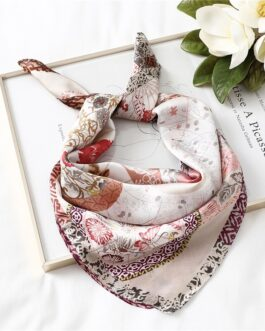 New Silk Square Neck Floral Print Scarf