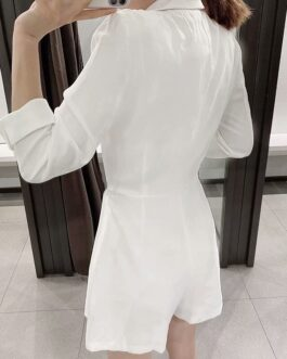 Notched Collar Solid Elegant Short Jumpsuit With Belt
