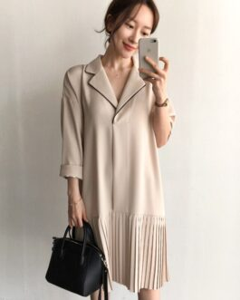 Notched Collar Solid Pleated Shirt Dress