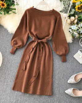 Off Shoulder A-line Fashion Elastic Long Sleeve Slash Neck Lace up Dress