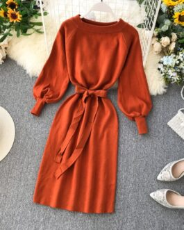 Off Shoulder A-line Fashion Elastic Long Sleeve Slash Neck Lace up Dress