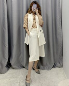 Office Wear Double Breasted Blazer Vest With Casual Loose Half Wide Leg Pants