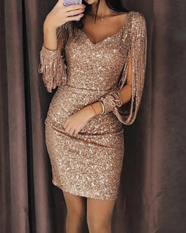 Open Design Sleeve Shimmering V-Neckline Mini Dress