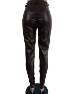 PU Leather Natural Waist Skinny Trousers