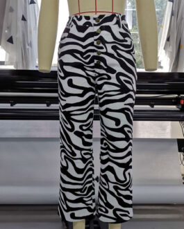 Pants Polyester High Rise Waist Animal Print Straight Trousers