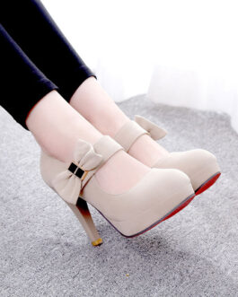 Platform Pumps Round Toe Bows Stiletto Heel Marry Jane High Heel Shoes