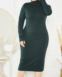 Plus Mock Turtleneck Shell Dress