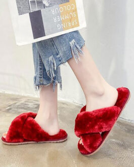 Plush Leopard Knitting Wool Upper Open Toe Slippers