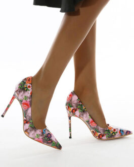 Printed Pointed Toe Chic PU Leather Stiletto High Heels