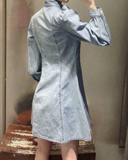 Puff Long Sleeve High Street Button Up Dress