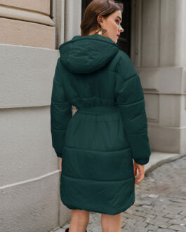 Puffer Coats Turndown Collar Front Button Long Sleeves Casual Thicken Midi Outerwear