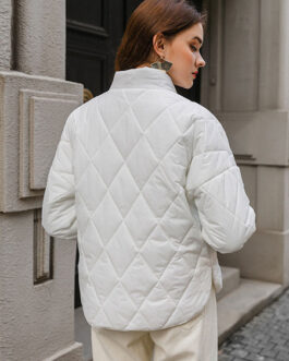 Puffer Coats Wind Proof Turndown Collar Long Sleeves Nylon Casual Outerwear
