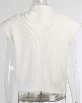 Pullovers High Collar Polyester Vest Sweaters