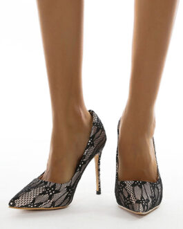 Pumps Snake Grain Pattern Pointed Toe Chic Lace Upper Stiletto Heel