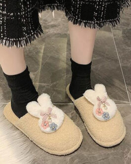 Rabbit Plush Knitting Wool Upper Closed Toe Slippers