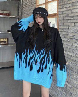 Retro Flame Wild Loose O-Neck Long Sleeve Sweater