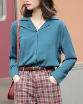 Retro Notched Neck Solid Blouse
