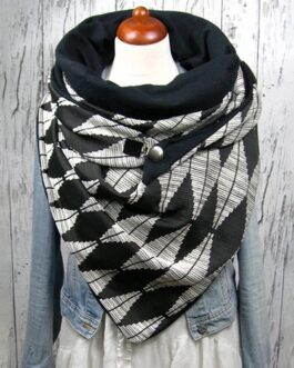 Rhombus Printing Versatile Thick Warm Shawl Fashion Scarf
