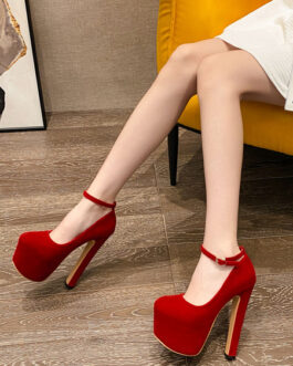 Sexy High Heels Micro Suede Upper Round Toe Chunky Sexy Shoes