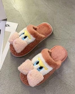 Soft Short Plush Knitting Wool Upper Closed Toe Slipper