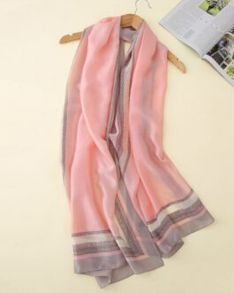 Soft print long size silk scarves