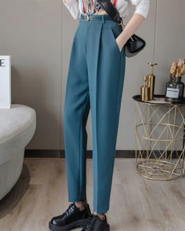 Solid Color Casual Long Pants With Belt