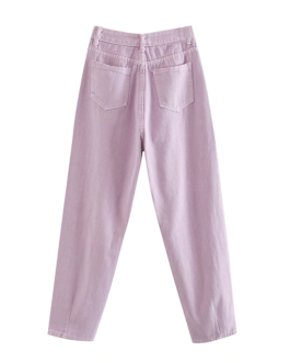 Solid Loose Cowboy Jeans Baggy Pleated Harem Pants