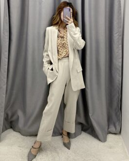 Solid Two Piece Office Wear Suit Blazer Set