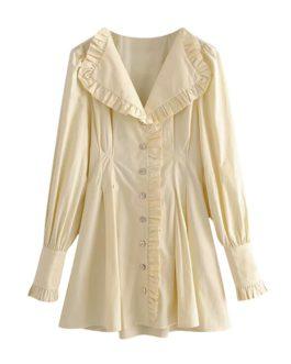 Solid V Neck Elegant Ruffles Pleated Dress
