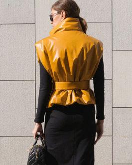 Stand Collar Sleeveless Leather Vest Jacket