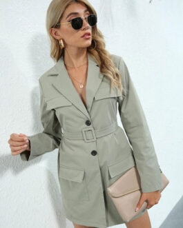 Stylish Polyester Layered Turndown Collar Lace Up Long Sleeves Blazer Coats