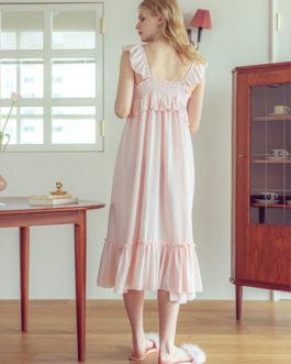 Sweet Nightdress Pajamas Straps Neck Sleeveless Cotton Sleepwear