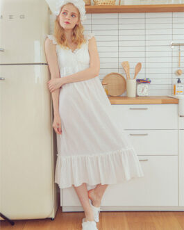 Sweet Nightdress Pajamas Straps Neck Sleeveless Cotton Sleepwear