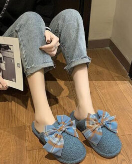 Sweet Plush Bow Open Toe Knitting Wool Upper Slippers
