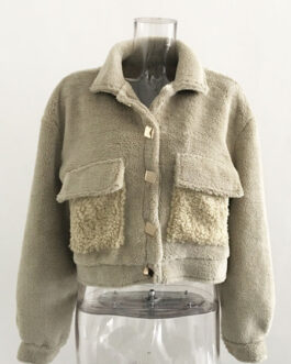 Teddy Coats Turndown Collar Front Button Casual Field Jacket