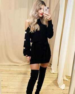 Trendy one shoulder knitted dress