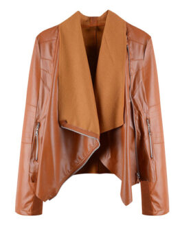 Turndown Collar Long Sleeve Zipper PU Leather Jacket