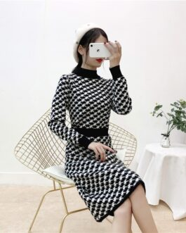 Turtleneck Plaid Retro Long Sleeve Elastic Warm Sweater Dress