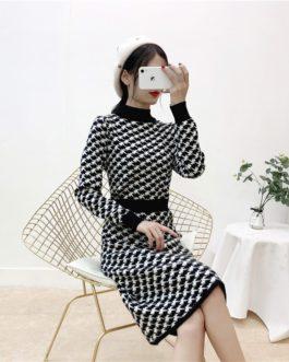 Turtleneck Plaid Retro Long Sleeve Elastic Warm Sweater Dress