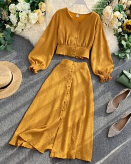 V Neck Long Sleeve Button Top And High Waist Single Breasted Split Skirt Two Pieces Set