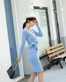 V Neck Long Sleeve Jumper Chic Street Wear Body Con Sweater Dress